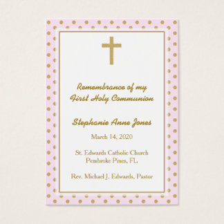 Communion Pink with Gold Polka Dots