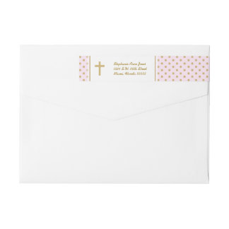Communion Pink with Gold Polka Dots Wraparound Return Address Label