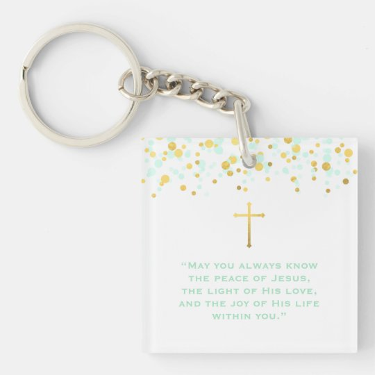 Communion Prayer Double-Sided Square Acrylic Key Ring