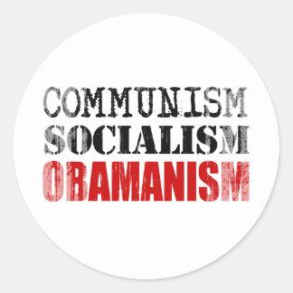 COMMUNISM SOCIALISM OBAMANISM Faded.png Round Sticker