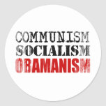 COMMUNISM SOCIALISM OBAMANISM Faded.png Round Stickers