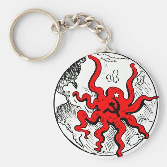 Communist Octopus Basic Round Button Key Ring
