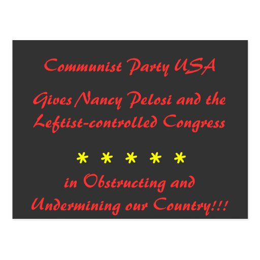 Communist Party USA, Gives Nancy Pelosi and the... Postcards