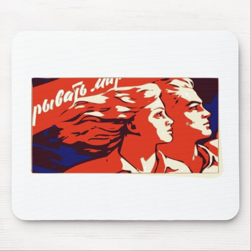 COMMUNIST PROPAGANDA HE AND SHE MOUSE PADS