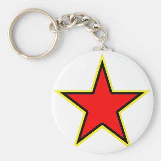 Communist Red Star Basic Round Button Key Ring