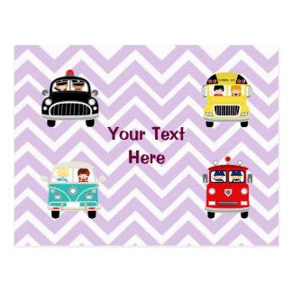 Community Firetrucks Vehicles Cars on Chevron Postcard