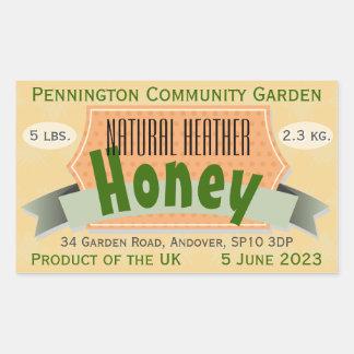 Community Garden Honey with Country of Origin Rectangular Sticker