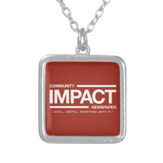 Community Impact Newspaper logo charm Silver Plated Necklace