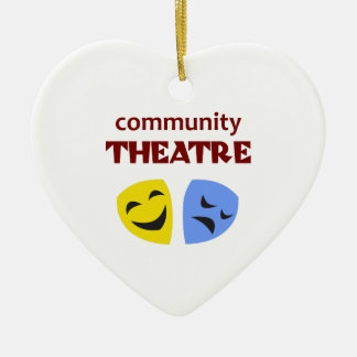 COMMUNITY THEATRE Double-Sided HEART CERAMIC CHRISTMAS ORNAMENT