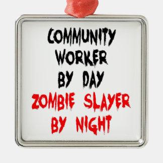 Community Worker Zombie Slayer Christmas Ornament