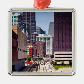 Commuter rail tracks lead into Downtown Chicago Christmas Ornament