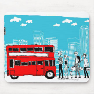 Commuters waiting at bus stop mouse mat