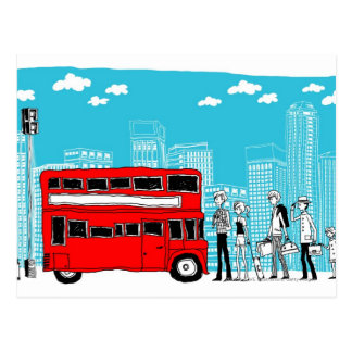 Commuters waiting at bus stop postcard