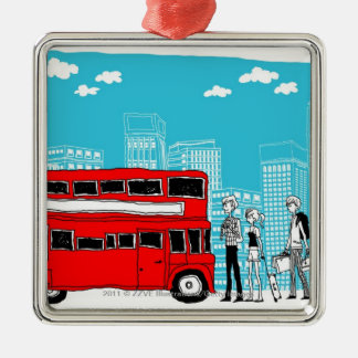 Commuters waiting at bus stop Silver-Colored square decoration