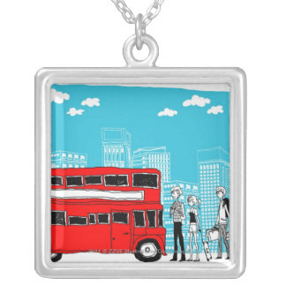 Commuters waiting at bus stop silver plated necklace
