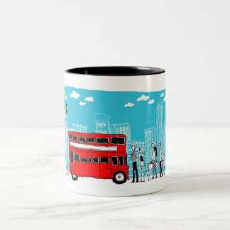 Commuters waiting at bus stop Two-Tone coffee mug