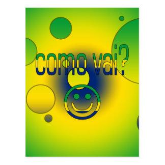 Como Vai? Brazil Flag Colors Pop Art Post Card