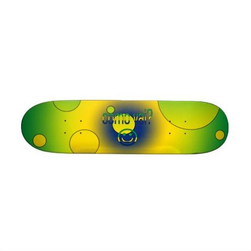 Como Vai? Brazil Flag Colors Pop Art Skate Board Deck