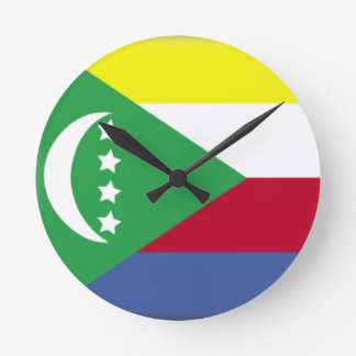 Comoros Flag Round Clocks