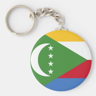 Comoros flag KM Basic Round Button Key Ring