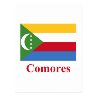 Comoros Flag with Name in French Postcard