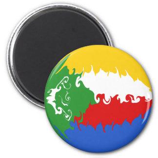Comoros Gnarly Flag 6 Cm Round Magnet