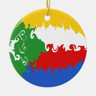 Comoros Gnarly Flag Round Ceramic Decoration