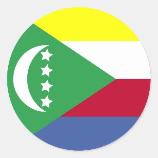 Comoros High quality Flag Classic Round Sticker