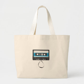 Compact Cassette with pulled out tape. Large Tote Bag