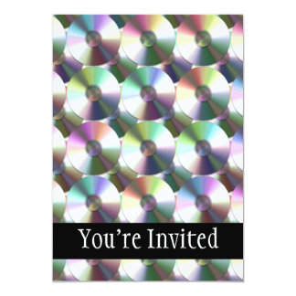 Compact Disc Rainbow Reflective Pattern 13 Cm X 18 Cm Invitation Card