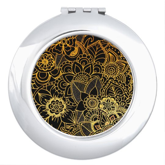 Compact Mirror Floral Doodle Gold G523
