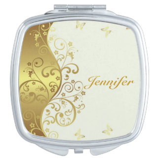 Compact Mirror--Gold Swirls & Ivory Mirror For Makeup