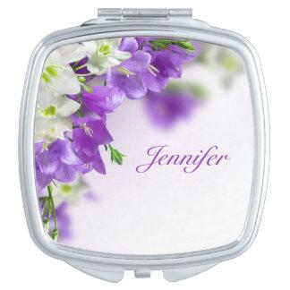 Compact Mirror--Purple Flowers-Vertical Vanity Mirror