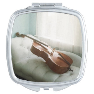 Compact mirror with beautiful cello photograph