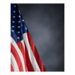 COMPACT PHOTO BACKDROP - US Flag on Grey Blue Poster