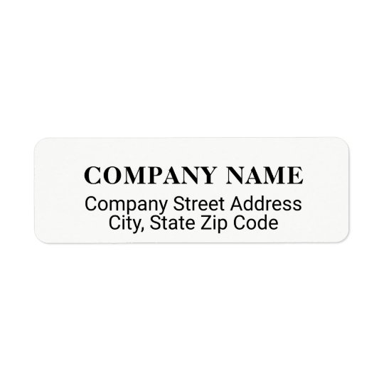 company address label with co. name