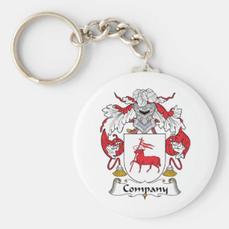 Company Family Crest Basic Round Button Key Ring