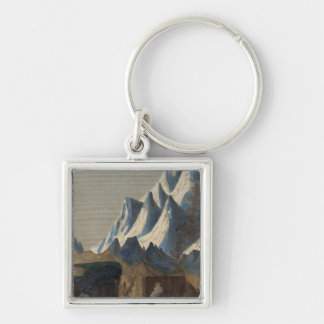 Comparative Height of the Principal Mountains Silver-Colored Square Key Ring