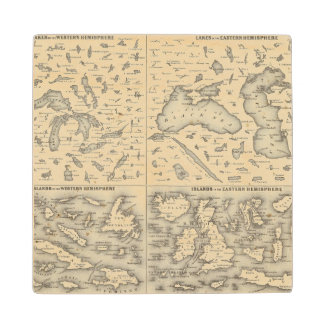 Comparative Size of Lakes and Islands Wood Coaster