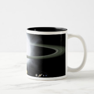 Comparison of the size of a hypergiant star Two-Tone coffee mug