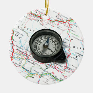 Compass And Map Christmas Ornament