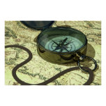 Compass and Map Print