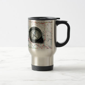 Compass And Map Stainless Steel Travel Mug