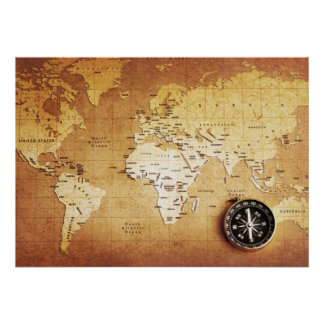 Compass and Map Value Poster Paper (Matte)