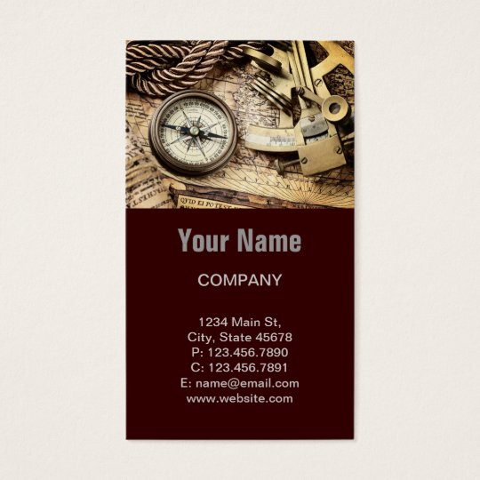 Compass and navigational Charts nautical Business Card