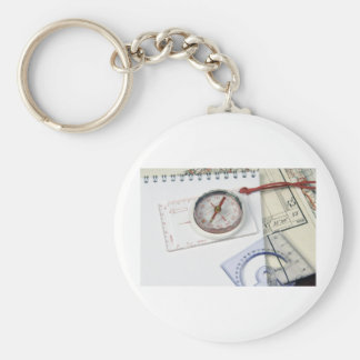 Compass and old maps basic round button key ring