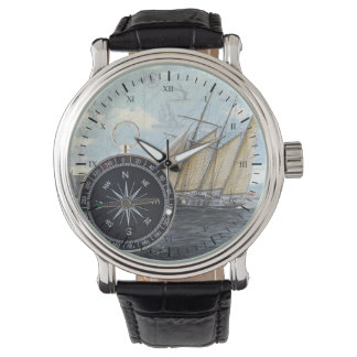 compass and ship watch