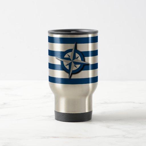 Compass and Stripes Pattern Nautical Inspired Coffee Mug