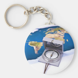 Compass and world map basic round button key ring