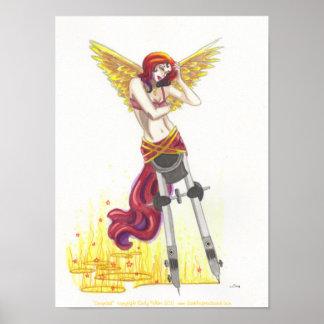 Compass Angel surreal fantasy art poster print